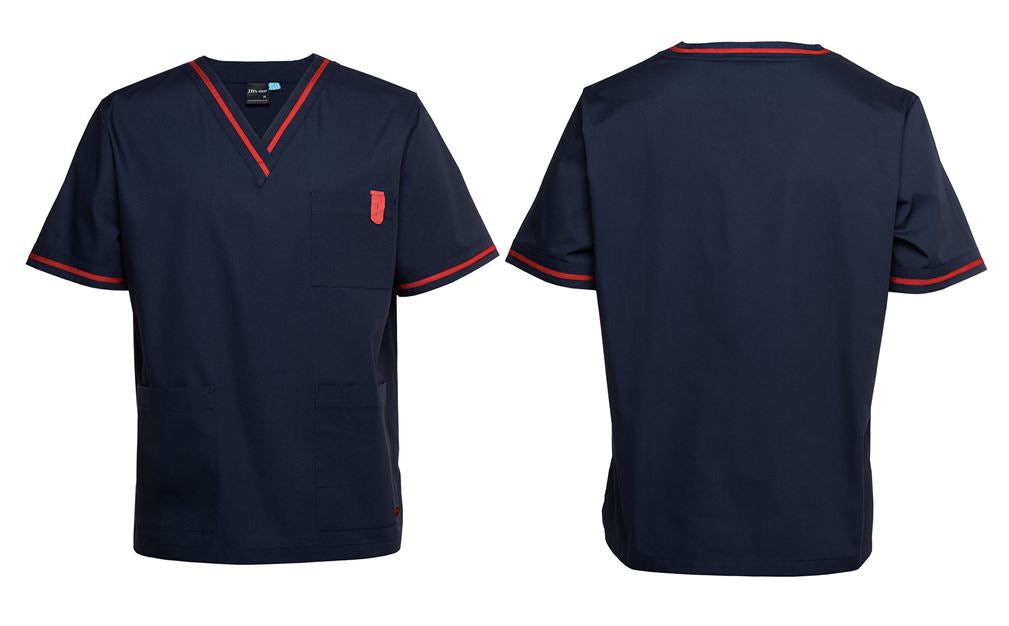 EN Nursing Scrub Top Navy Blue/Red Trim
