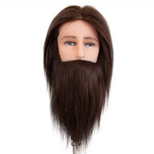 Derryn Mannequin Medium Indian Hair With Beard Dark Brown
