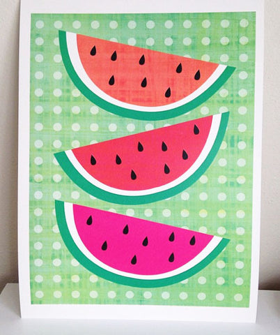 White Forest Home Watermelon Wall Print