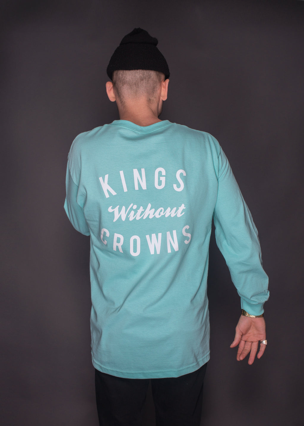 Kings Without Crowns. NYC Stack Team Longsleeve. Celadon Color Option.