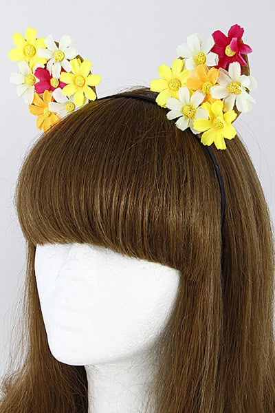 Girls Cat Ear Floral Headband