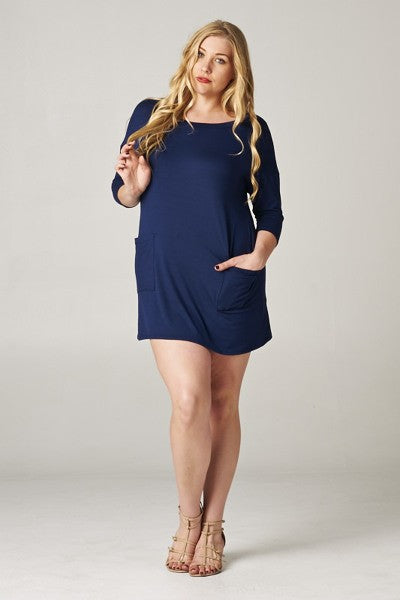 Ladies Plus Size Navy Button Back Tunic