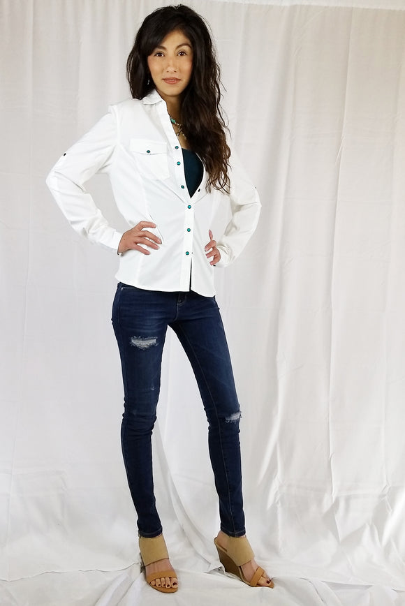 Ladies Rib Sided Button Front Fitted Shirt