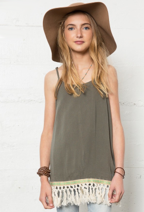 Junior Girls Olive Fringe Tank Dress