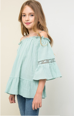 Girls Off The Shoulder Tunic Top & Shorts Set