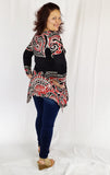 Ladies Plus Size Long Sleeve Black & Red Handkerchief Top