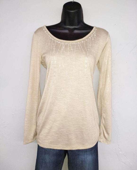 Ladies Plus Size Long Sleeve Coffee Knit Bling Top