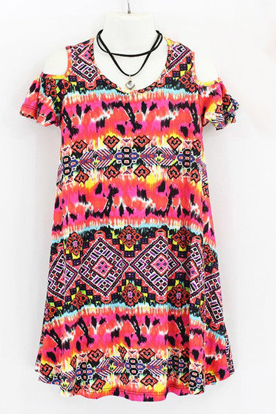 Girls Tie-Dye Print Dress With Choker