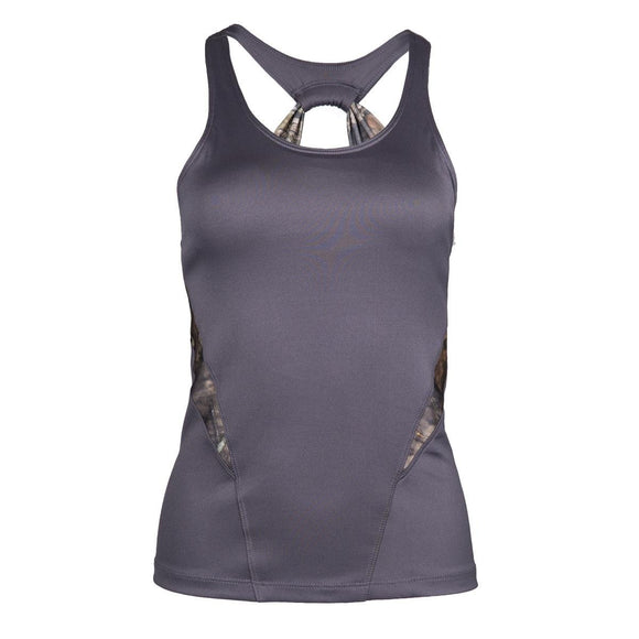 Ladies Plus Size Gunmetal Grey Mossy Oak Active Fitted Tank