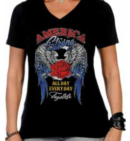 Ladies Plus Size America Strong-Together V-Neck Tee