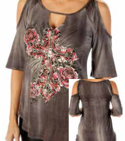 Ladies Starburst Cross Cold Shoulder Mineral Wash Tunic Top