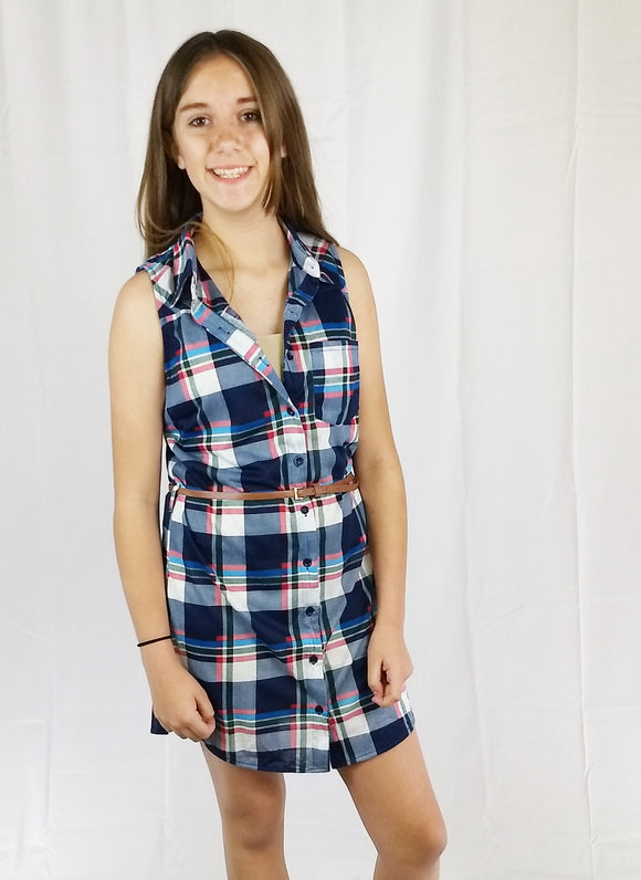 Teen & Junior Girls Plaid Sleeveless Button-Front Tunic Dress With Belt