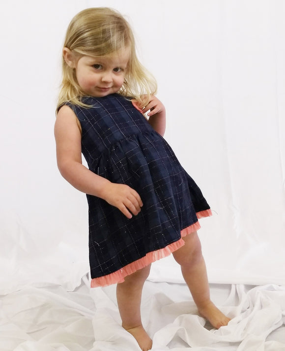 Toddler Girls Denim Plaid Tank Dress