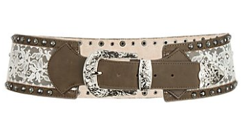 Ladies Angel Ranch Brown Leather & Lace Belt