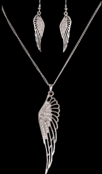 Ladies Silver Strike Angel Wing Earring & Necklace Set