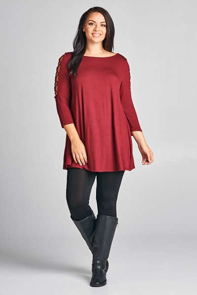 Ladies Plus Size Jersey Tunic With Arm Detail