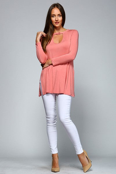 Ladies Jersey Tunic Top with Keyhole Neckline