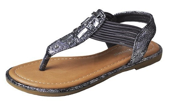 Girls Silver Tone Fashion Strap Rhinestone Sandals