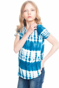 Girls Blue Tie-Dye Top & Shorts Set