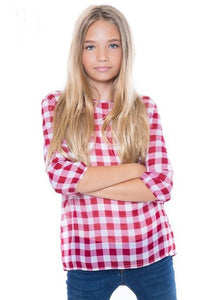 Girls Red Plaid Chiffon Top & Shorts Set