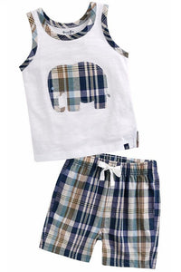 Boys Plaid Elephant Short Set