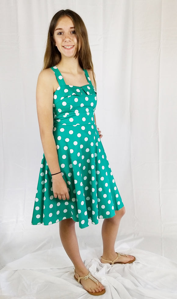Teen Girls Jade Polka Dot Dress