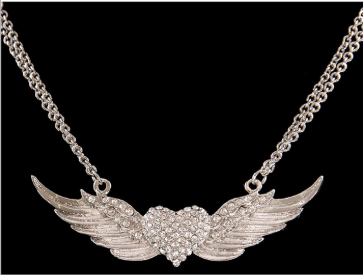 Ladies Silver Strike Angel Wing Necklace