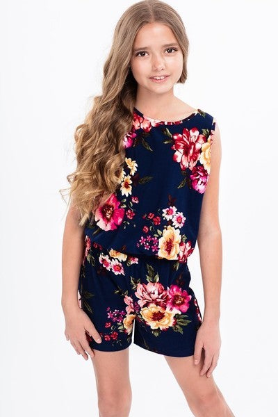 Junior Girls Navy Floral Print Romper