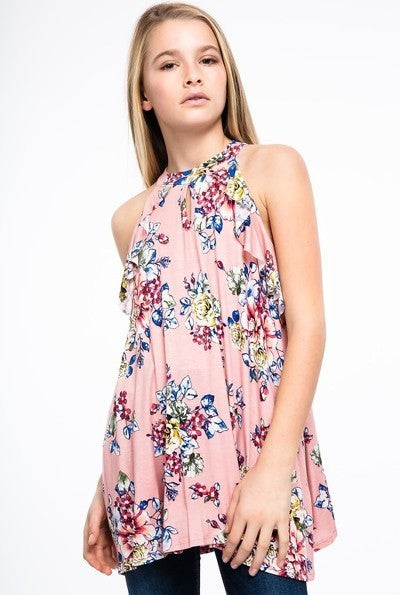 Girls Floral Mauve Sleeveless Top
