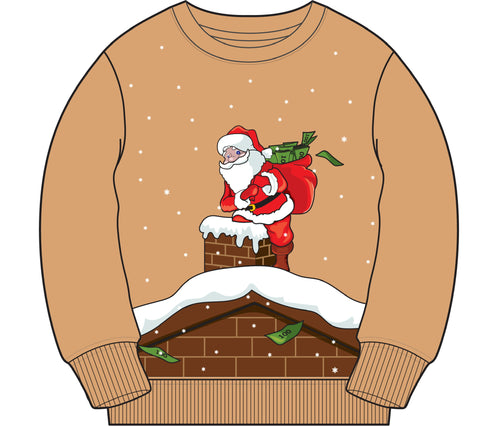 365 Clothing Trappin Santa Ugly Christmas Sweater -Tan