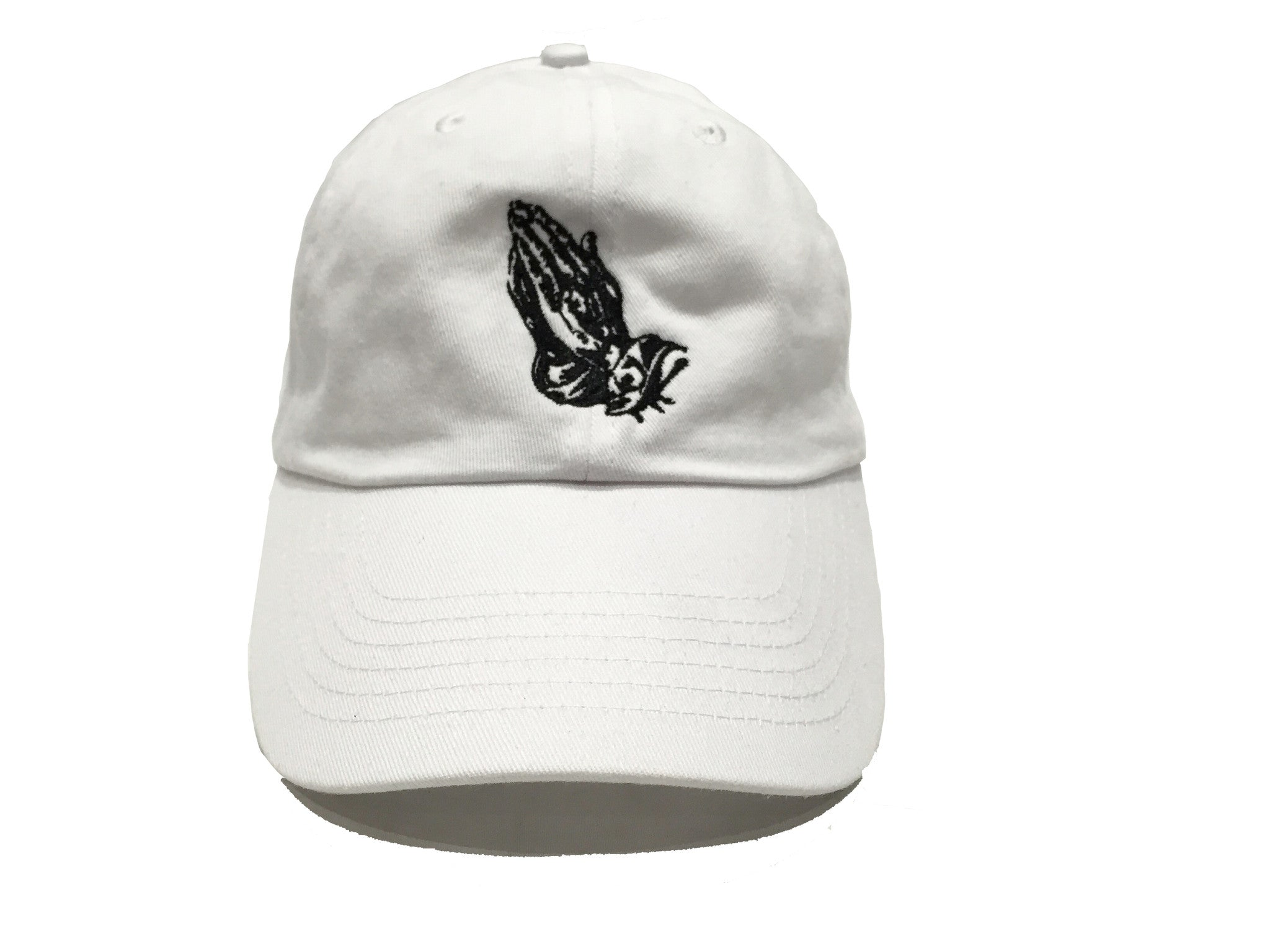 Praying Hands Dad Hat - White