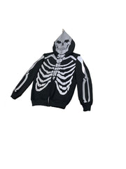 365 Clothing Skeleton Full Zip Up Hoodie -Black/3M