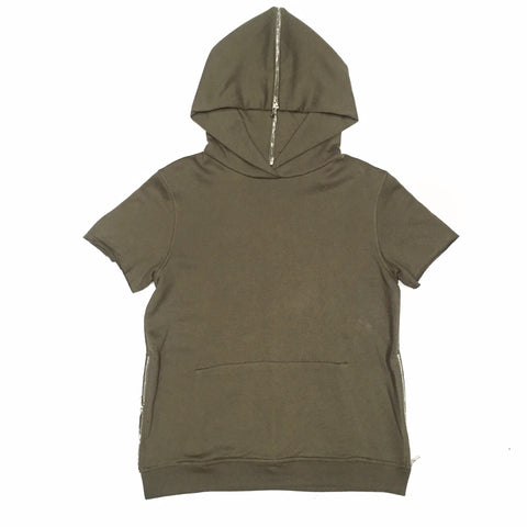 God First Short Sleeve Side Zip Hoodie -Olive