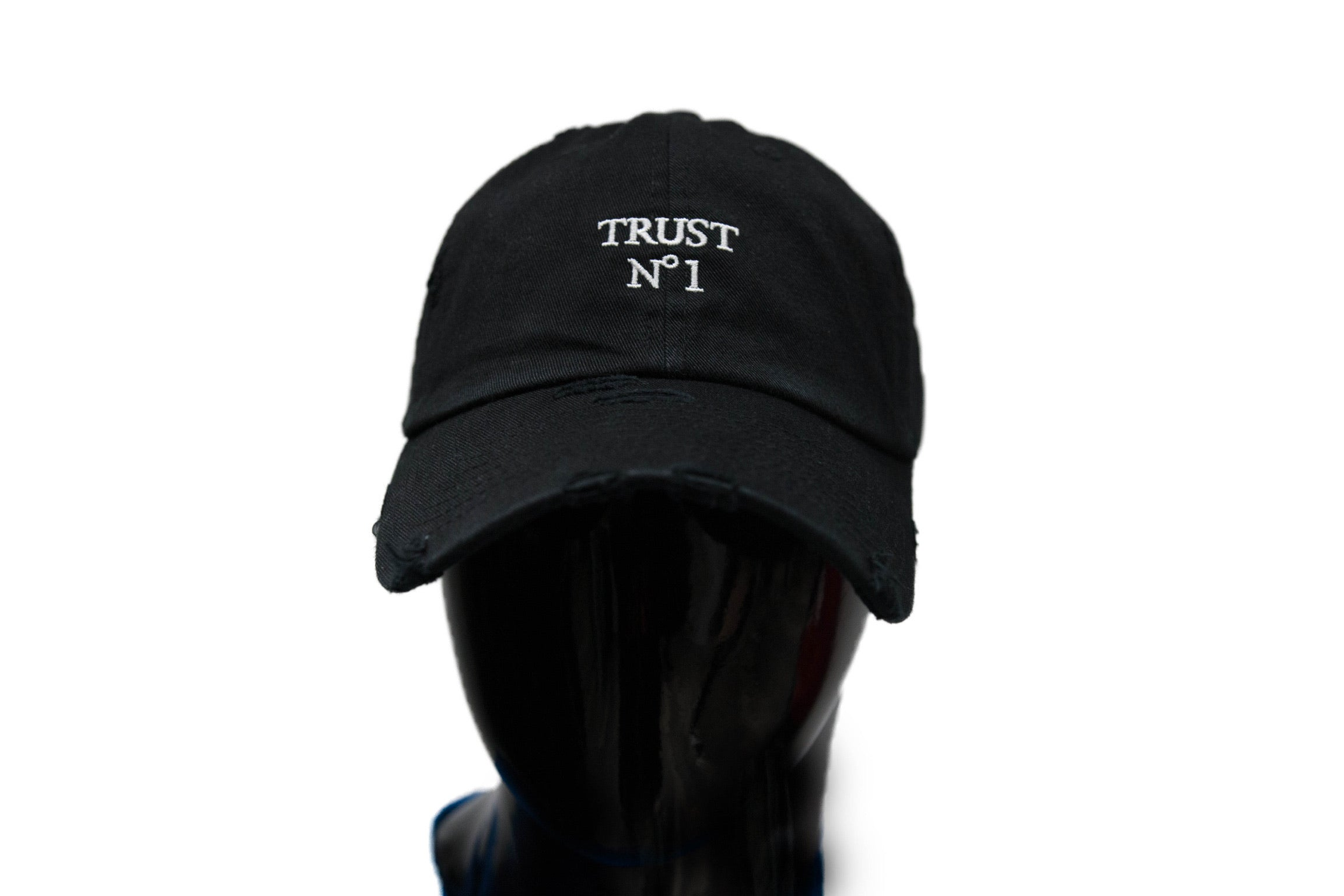 Trust No 1 Distressed Dad Hat -Black