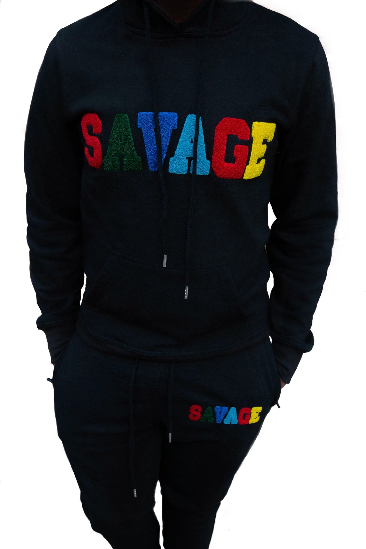 "365 Clothing ""Savage"" Chenille Sweatsuit -Black"