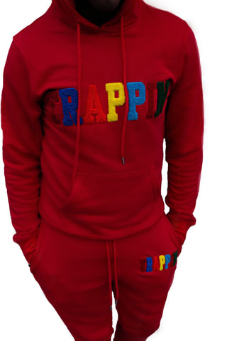 "365 Clothing ""Trappin"" Chenille Sweatsuit -Red"