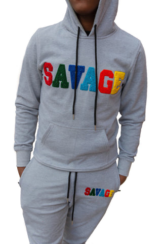 "365 Clothing ""Savage"" Chenille Sweatsuit -Grey"