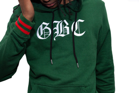 "Guy Benson Collection ""GBC"" Old English Hoodie -Green/Red"