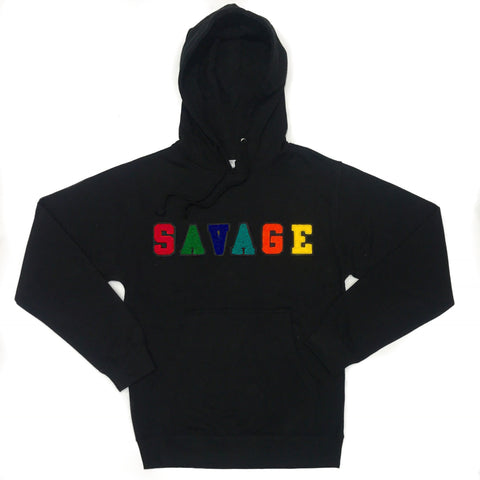 "365 Clothing ""Savage"" Chenille Pullover Hoodie -Black"