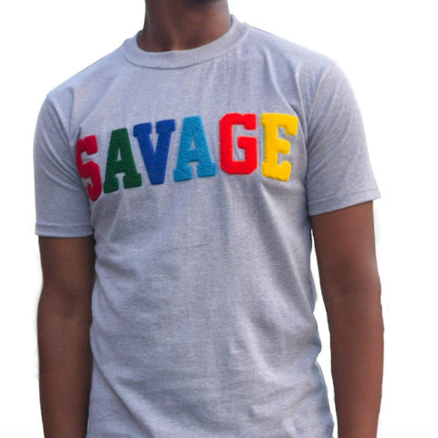 "365 Clothing ""Savage"" Chenille Patch T-shirt -Grey"