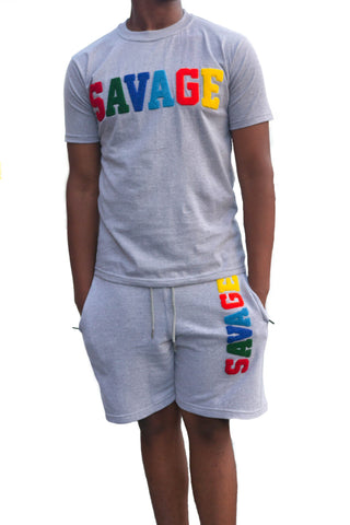 "365 Clothing ""Savage"" Chenille Patch Short Suit Set -Grey"