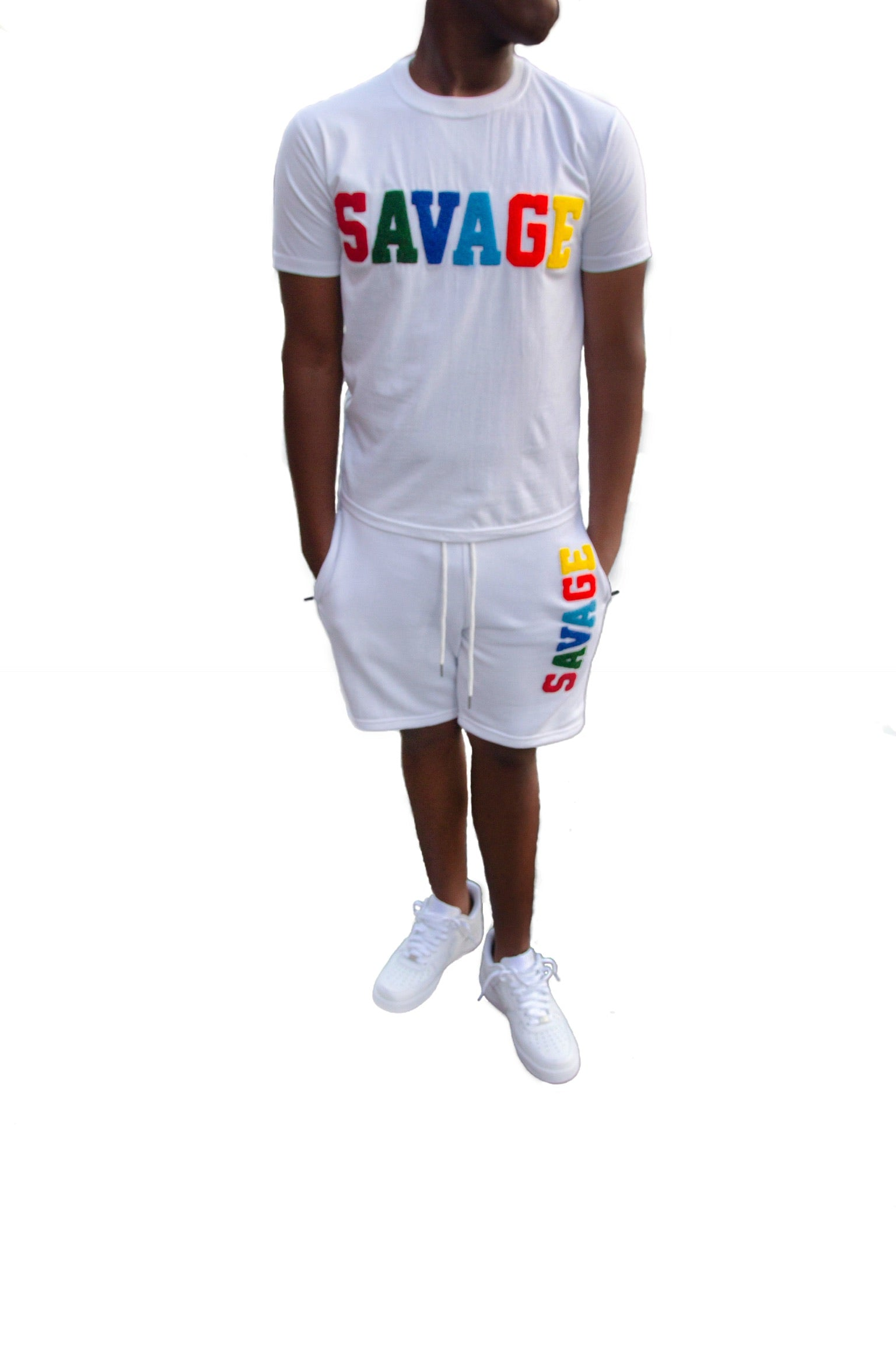 "365 Clothing ""Savage"" Chenille Patch Short Suit Set -White"