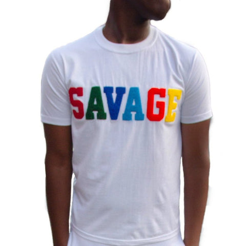 "365 Clothing ""Savage"" Chenille Patch T-shirt -White"