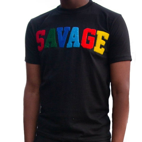 "365 Clothing ""Savage"" Chenille Patch T-shirt -Black"