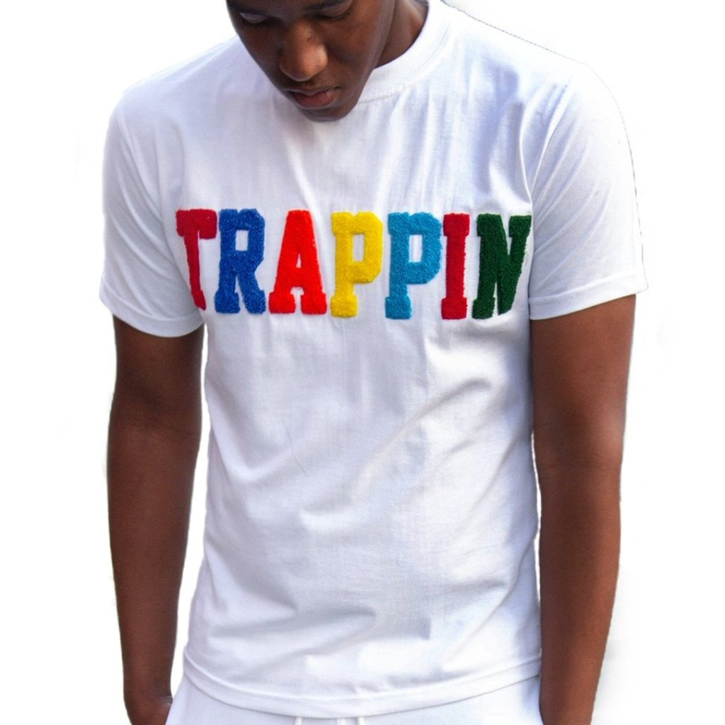"365 Clothing ""Trappin"" Chenille Patch T-shirt -White"