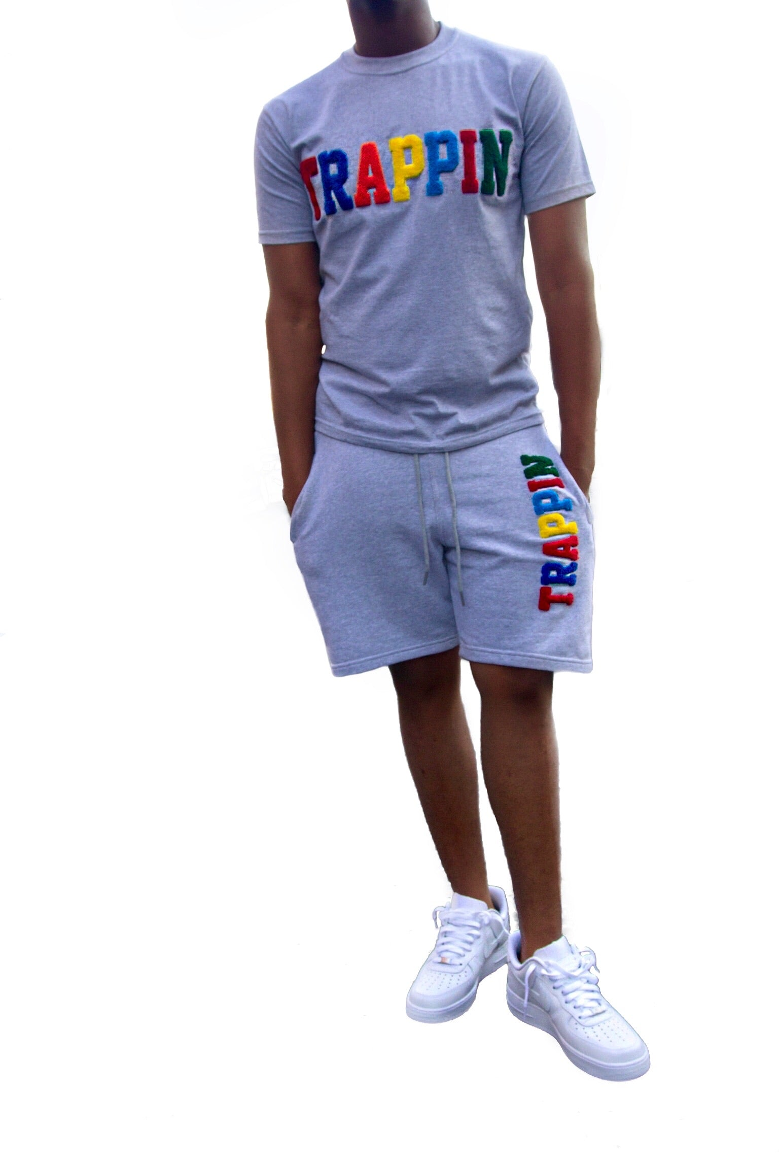 "365 Clothing ""Trappin"" Chenille Patch Short Suit Set -Grey"