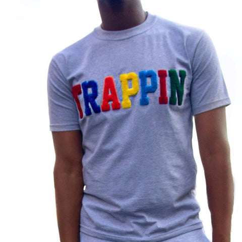"365 Clothing ""Trappin"" Chenille Patch T-shirt -Grey"