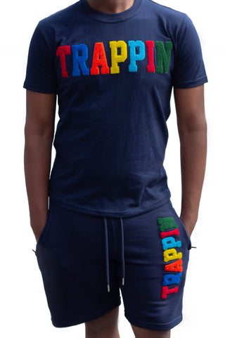 "365 Clothing ""Trappin"" Chenille Patch Short Suit Set -Navy"