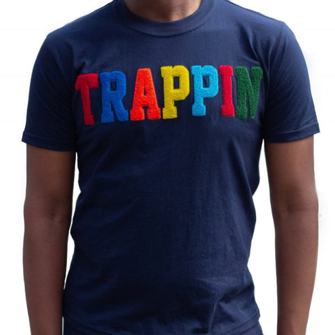 "365 Clothing ""Trappin"" Chenille Patch T-shirt -Navy"