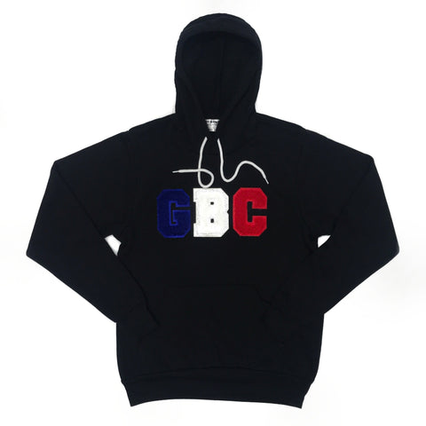 "Guy Benson Collection ""GBC"" Chenielle Patch Pullover Hoodie -Black/Blue/White/Red"